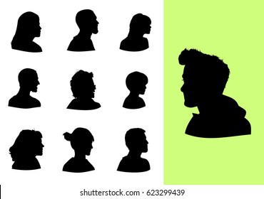 Set of profile silhouettes