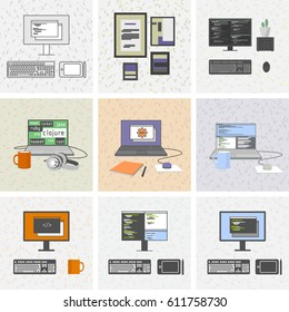 Set of programming laptops and computers with keyboards and designer tablets. Plus diploma and pictures, cactus, mug, headphones, mouse.