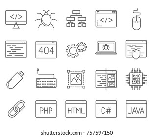 Set of programming Related Vector Line Icons. Includes such Icons as code, Internet technology, website development, application programming, programming languages, virus and etc.