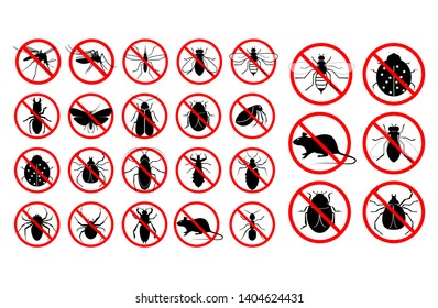 set of prohibited insect isolated.