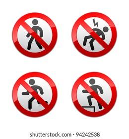 Set prohibited signs - man
