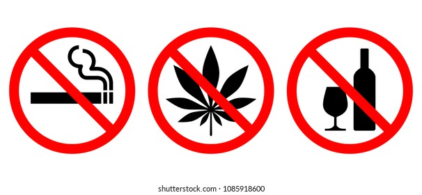 Set of prohibiting signs isolated on white background. Symbols: do not smoke, no alcohol, no drugs. Icons vector illustration