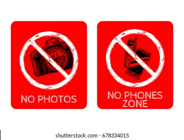 set of prohibition sign. No photography, no phones zone. Vector hand drawn illustration in vintage engraved style.