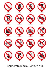 Set of prohibition signs as map markers, vector eps10 illustration