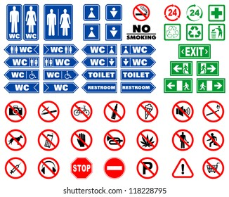 Set of prohibition signs and signals for indoors navigation in vector