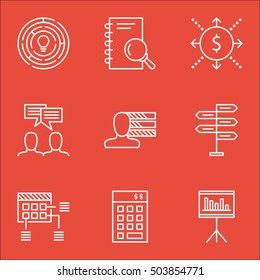Set Of Project Management Icons On Personal Skills, Schedule And Money Topics. Editable Vector Illustration. Includes Cash, Research And Personality Vector Icons.