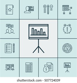Set Project Management Icons On Computer Stock Vector