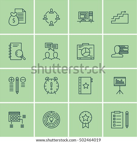 Set Project Management Icons On Schedule Stock Vector