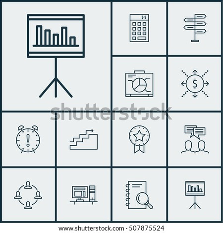 Set Project Management Icons On Time Stock Vector (Royalty