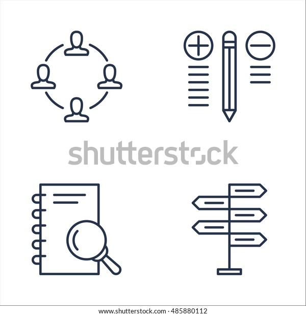 Set Project Management Icons On Research Stock Vector Royalty Free 485880112