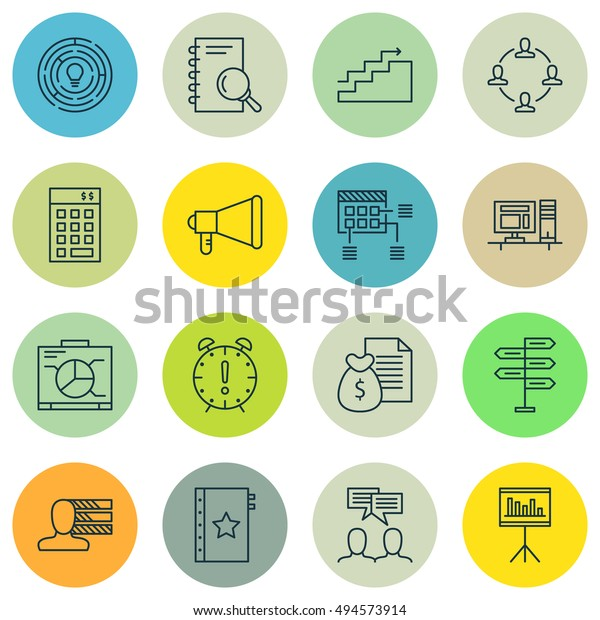 Set Of Project Management Icons On Research, Quality Management, Promotion And More. Premium Quality EPS10 Vector Illustration For Mobile, App, UI Design.