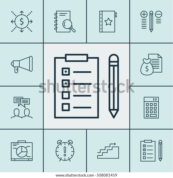 Set Project Management Icons On Money Stock Vector (Royalty