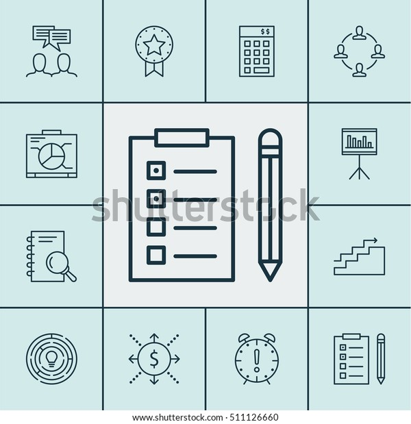 Set Project Management Icons On Board Stock Vector (Royalty Free