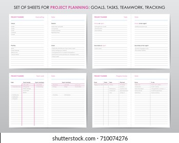 Set of project planner sheets, for life and business planning