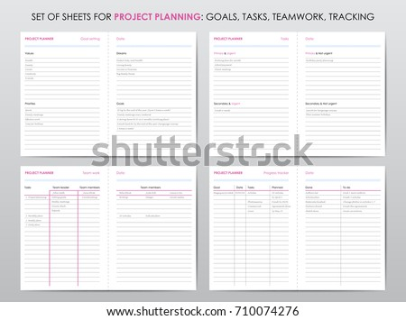 set project planner sheets life business stock vector royalty free