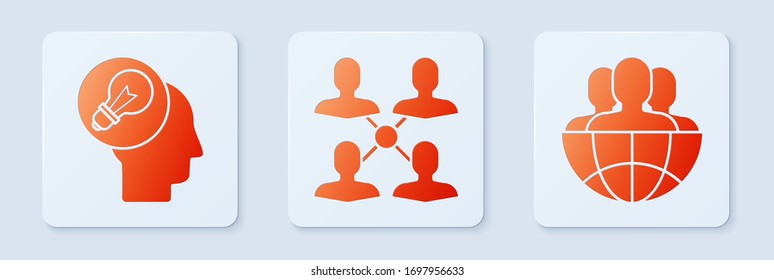 Set Project team base, Human head with lamp bulb and Globe and people. White square button. Vector