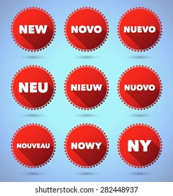 Set of promo badges with the word NEW on various languages. EPS10.