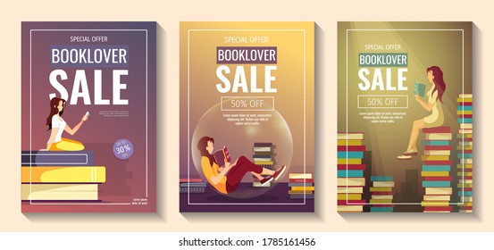 Set of promo sale flyers for bookstore, bookshop, book lovers, E-book reader, E-library. Women and piles of books. A4 vector illustration for poster, banner, advertising, special offer, flyer.