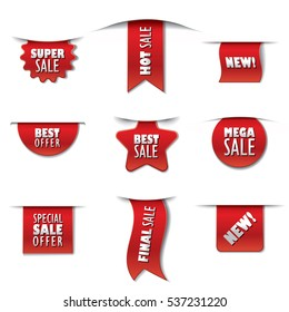 set of promotion advertising sale stickers and banners