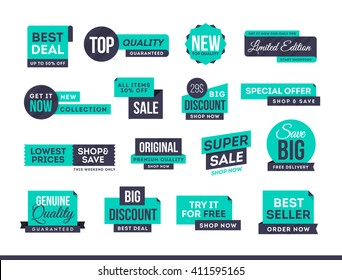 Set of promotional badges and sale tags, modern design, vector illustration