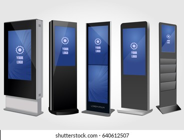 Set of Promotional Interactive Information Kiosk, Advertising Display, Terminal Stand, Touch Screen Display. Mock Up Template.