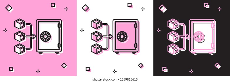 Set Proof of stake icon isolated on pink and white, black background. Cryptocurrency economy and finance collection.  Vector Illustration