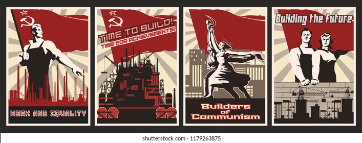 Set of Propaganda Posters. Work and Obey