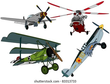 Set propeller aircraft and helicopters