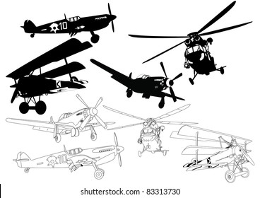 Set propeller aircraft and helicopters silhouette