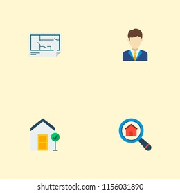 Blueprint images stock photos vectors shutterstock set of property icons flat style symbols with good property floor plan realtor and malvernweather Image collections