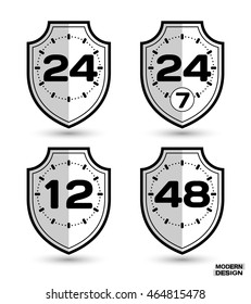 Set of protection shields with shadow, and sign on clock face - 12, 24, 24-7, 48 hour cycle. Icon isolated on white background. Vector