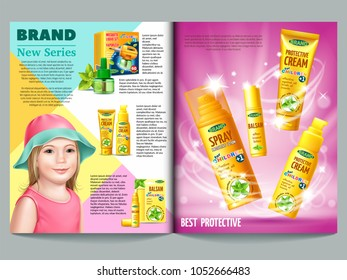 Set of protective facilities from insects for children. Containers and tubes for cream, lotion, gel, balsam, spray. Magazine template. Smiling child. 3D realistic vector illustration.
