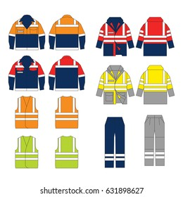 Set of protective wear on white background. Safety equipment. Protective workwear.   Protective safety jacket and pants with reflective stripes. High visibility vest.