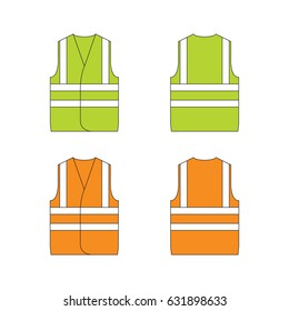 Set of protective wear on white background. Safety equipment. Protective workwear.   Protective safety clothing with reflective stripes. High visibility vest.