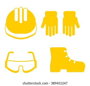 Set of protective work wear icons. Conceptual image of work wear for builder. Cartoon flat vector illustration. Objects isolated on a background.