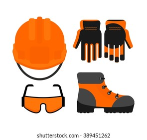 Set of protective work wear icons. Conceptual image of  tools for repair, construction and builder. Cartoon flat vector illustration. Objects isolated on a background.