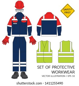 Set of protective workwear. Safety equipment. Protective safety helmet, glasses, gloves, jacket, pants with reflective stripes and shoes. High visibility vest.