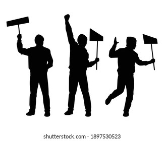 Set of protesting man silhouette vector on white background