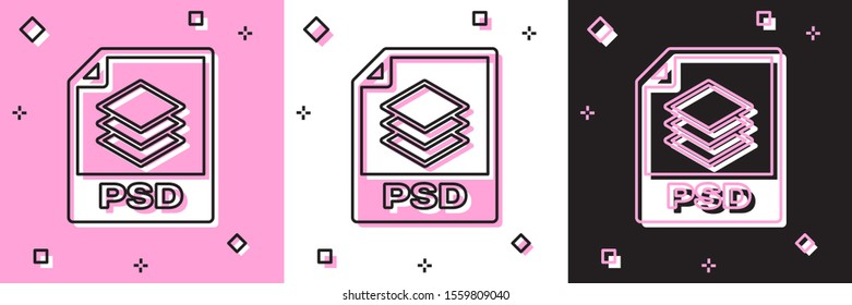 Set PSD file document. Download psd button icon isolated on pink and white, black background. PSD file symbol.  Vector Illustration