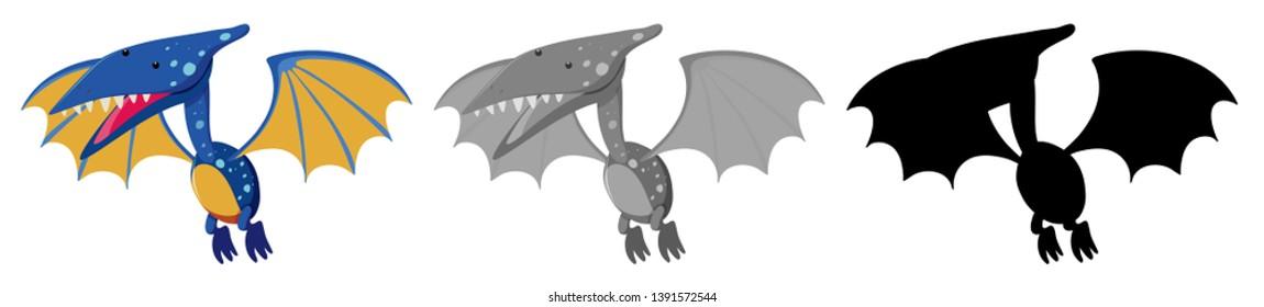 Set of Pteranodon character illustration