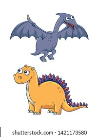 set of pterosaur and stegosaurus dinasaur wild animal