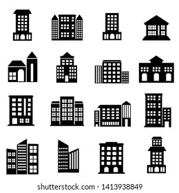 Set of public Building icon, goverment and office illustration symbol, skyscraper, hotel, apartment, house, home icons vector