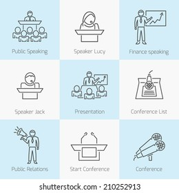 Set of public speaking presentation business conference flat line icons in gray color on squares