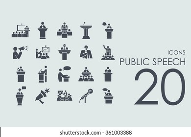 Set of public speech icons