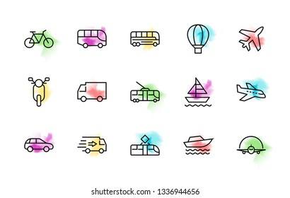 Set of Public Transport Related Vector Line Icons. Contains such Icons as Bus, Bike, Scooter, Car, balloon, Truck, Tram, Trolley, Sailboat, powerboat, Airplane and more. Editable Stroke. 32x32 Pixel