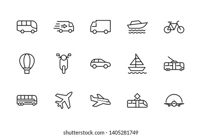 Set of Public Transport Related Vector Line Free Icons. Contains such Icons as Bus, Bike, Scooter, Car, balloon, Truck, Tram, Trolley, Sailboat, powerboat, Airplane and more. Editable Stroke.