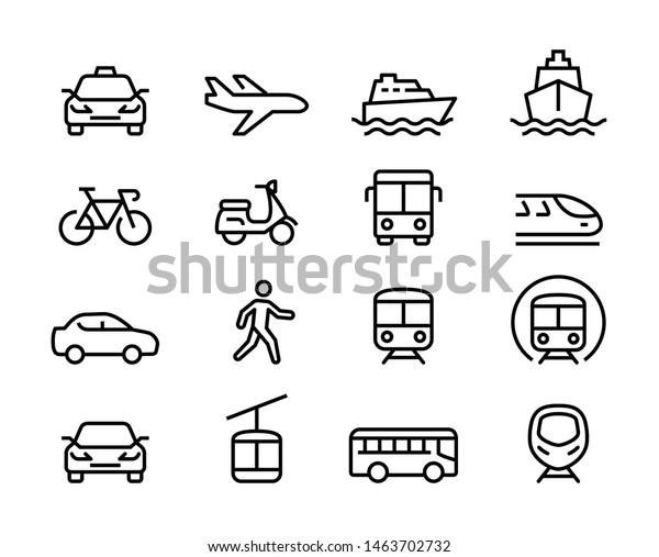 Set of Public Transportation Thin Line Icons
