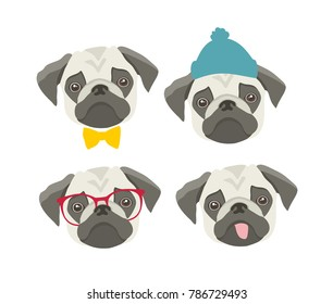 Set of pugs faces with accessories. Vector collection of fummy prints.