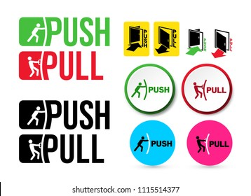 Set of Pull or Push door signs. Handle to open doors. Vector illustration. Isolated on white background