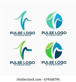 Set of Pulse Logo template designs vector illustration